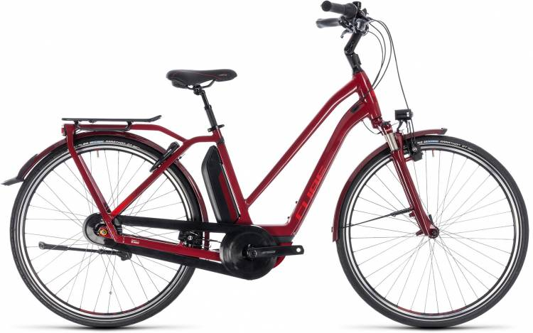 Cube Town Hybrid Pro 400 darkred n red 2018 - Damen Trapez E-Bike Trekkingrad