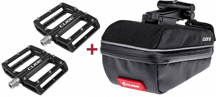Cube Pedale ALL MOUNTAIN - black + Cube Satteltasche CLICK M