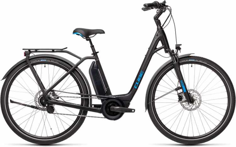 Cube Town Hybrid Pro 500 black n blue 2021 - E-Bike Trekkingrad Tiefeinsteiger