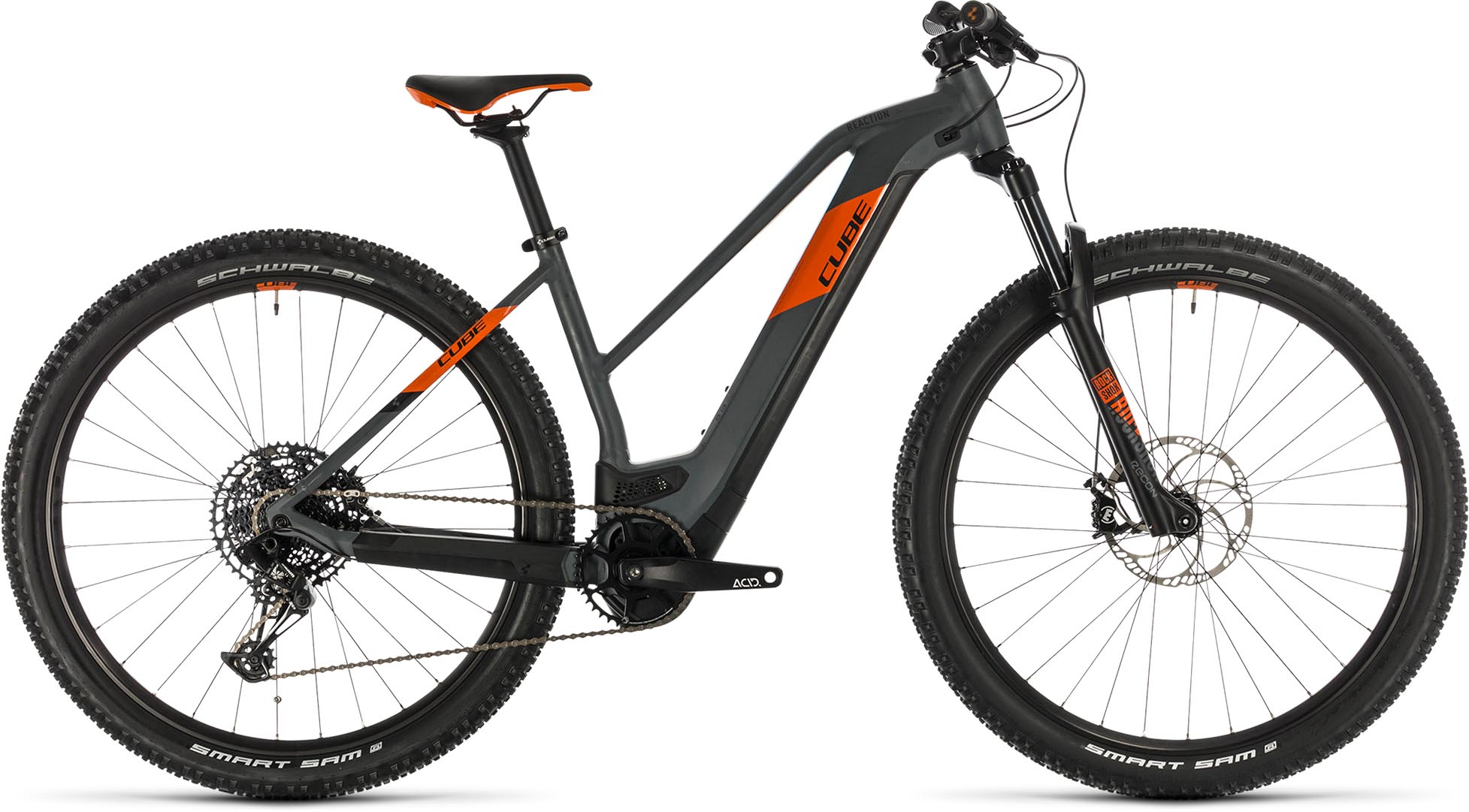 cube reaction hybrid sl 625 29 grey n orange 2020 damen e bike hardtail mountainbike e bike. Black Bedroom Furniture Sets. Home Design Ideas