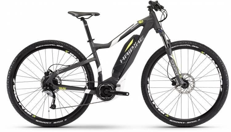Haibike SDURO HardNine 4.0 400Wh anthrazit/weiß/gelb matt 2017 - E-Bike Hardtail Mountainbike