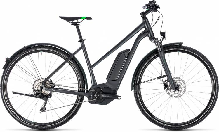 Cube Cross Hybrid Pro Allroad 400 grey n flashgreen 2018 - Damen Trapez E-Bike Crossrad