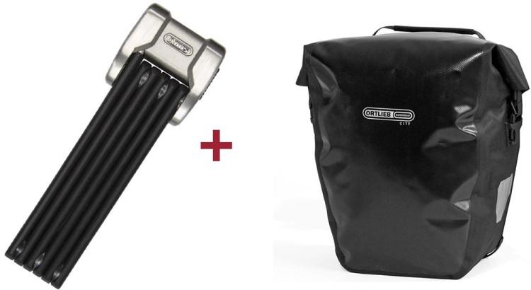 Abus Faltschloss Bordo Centium 6010 / 90 + Ortlieb Back-Roller City Hinterradtasche (Paar)