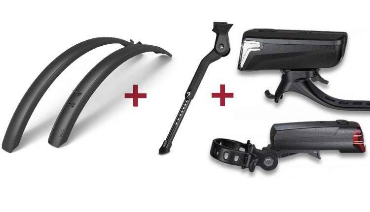 Cube Fahrradständer + RFR Beleuchtungsset Tour 32 black + ACID Schutzblechset MTB 60 Click