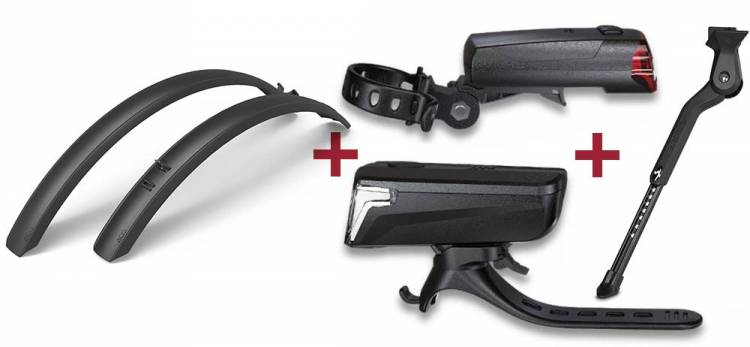 Cube Fahrradständer CMPT + RFR Beleuchtungsset Tour 32 black + ACID Schutzblechset MTB 60