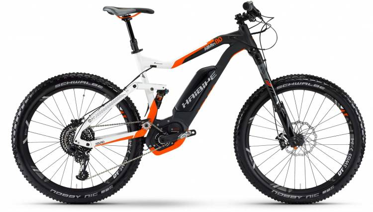 Haibike XDURO AllMtn 8.0 500Wh weiß/schwarz/orange matt 2017 - E-Bike Fully Mountainbike