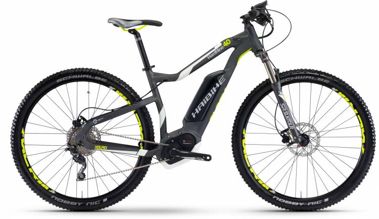 Haibike XDURO HardNine 4.0 400Wh anthrazit/weiß/lime matt 2017 - E-Bike Hardtail Mountainbike