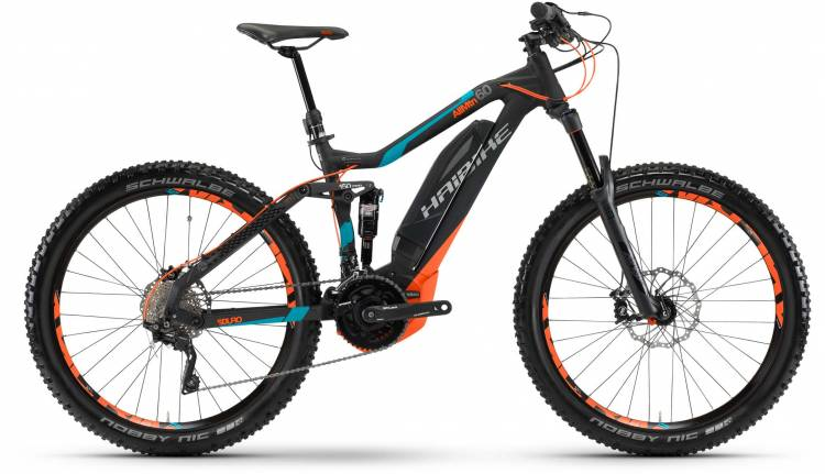 Haibike SDURO AllMtn 6.0 500Wh schwarz/cyan/orange matt 2017 - E-Bike Fully Mountainbike