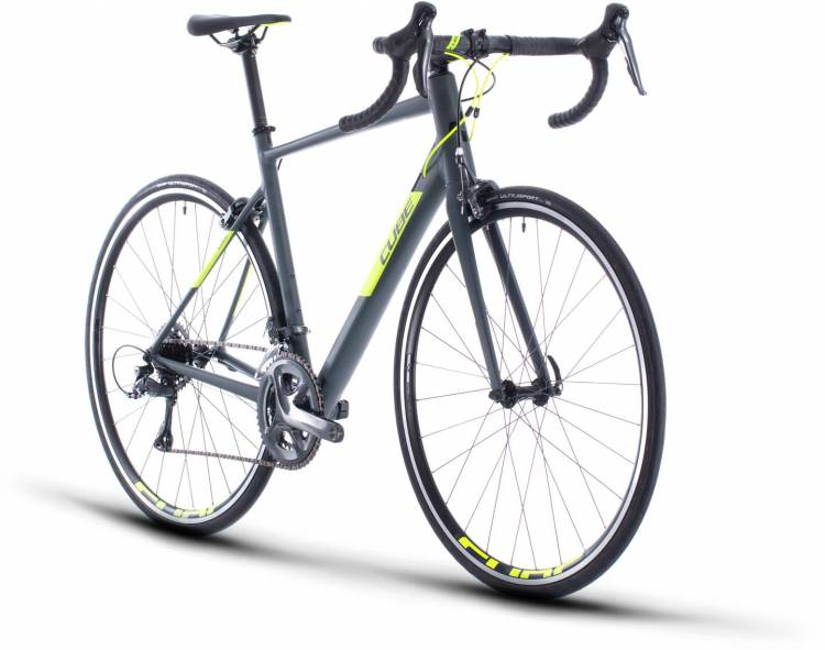 Cube Attain grey n flashyellow 2020 - Aluminium Rennrad Herren