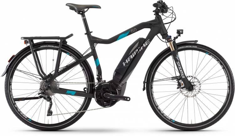 Haibike SDURO Trekking 5.0 500Wh schwarz/titan/cyan matt 2017 - Herren E-Bike Trekkingrad