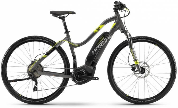 Haibike SDURO Cross 4.0 400Wh anthr./schwarz/lime 2018 - Damen Trapez E-Bike Crossrad