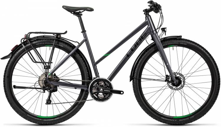 Cube Travel Exc grey black flashgreen Damen - Trapez 2016