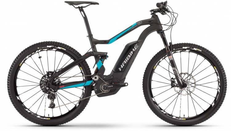 Haibike XDURO FullSeven Carbon 8.0 500Wh carbon/cyan/rot matt 2017 - E-Bike Fully Mountainbike