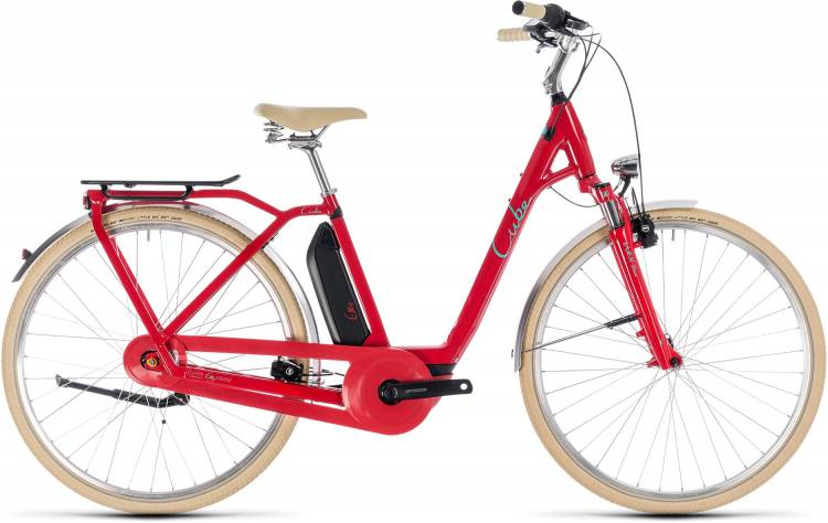 Cube Elly Cruise Hybrid 400 red n mint 2018 - Tiefeinsteiger Retro E-Bike Trekkingrad
