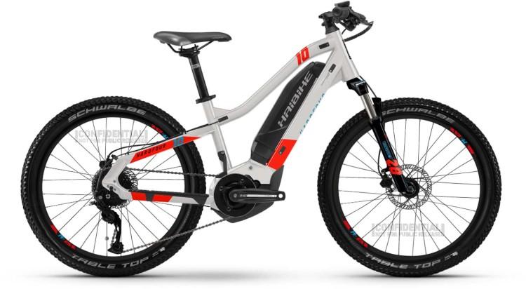"""Haibike HardFour 400Wh 24"""" cool grey/red/cyan 2021 - E-Bike Kinderrad 24 Zoll"""