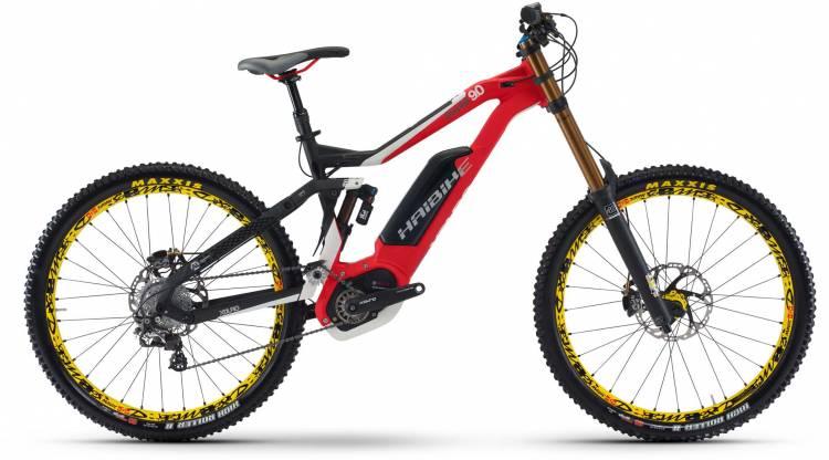 Haibike XDURO DWNHLL 9.0 500Wh schwarz/rot/weiß matt 2017 - E-Bike Fully Mountainbike