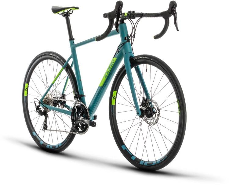 Cube Attain SL bluegrey n green 2020 - Aluminium Rennrad Herren