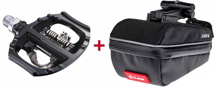 Shimano Pedale + Cube Satteltasche