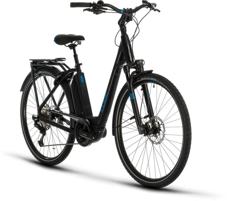 Cube Town Sport Hybrid EXC 500 black n blue 2020 - E-Bike Trekkingrad Tiefeinsteiger