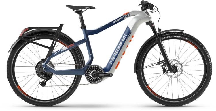 Haibike XDURO Adventr 5.0 FLYON i630Wh weiß/blau/orange 2020
