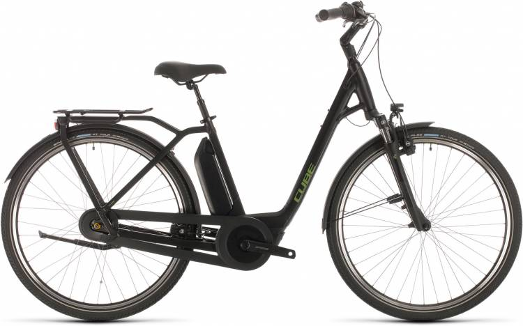 Cube Town Hybrid Pro RT 500 black n green 2020 - E-Bike Trekkingrad Tiefeinsteiger