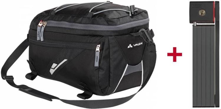 Gepäckträgertasche + Faltschloss