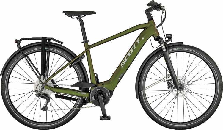 Scott Sub Tour eRIDE 10 Men beetle green / polished silver 2021 - E-Bike Trekkingrad Herren