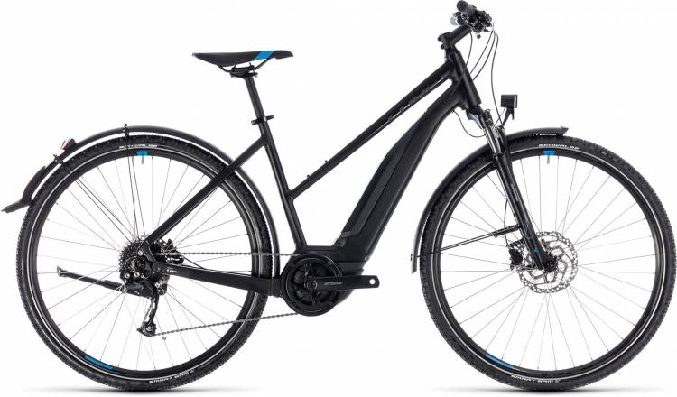 Cube Cross Hybrid ONE Allroad 400 black n blue 2018 - Damen Trapez E-Bike Crossrad