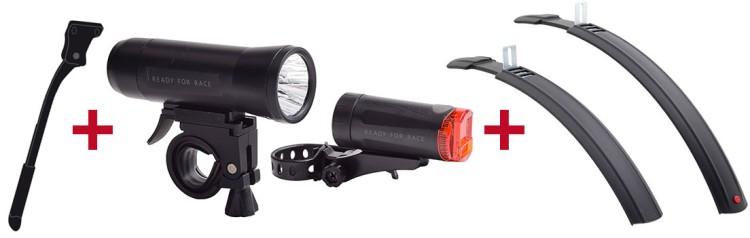 Ghost Fahrradständer + RFR Beleuchtungsset + Hebie Steckschutzblechset