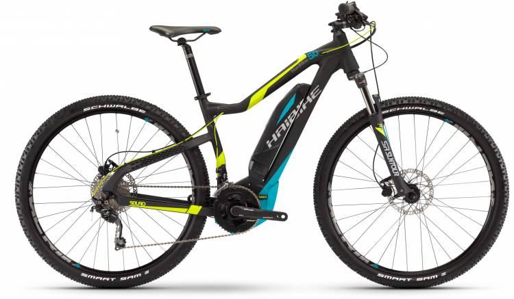 Haibike SDURO HardNine 5.0 400Wh schwarz/lime/cyan matt 2017 - E-Bike Hardtail Mountainbike