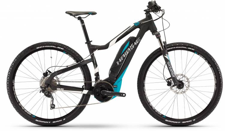 Haibike SDURO HardNine 5.5 500Wh schwarz/weiß/cyan matt 2017 - E-Bike Hardtail Mountainbike