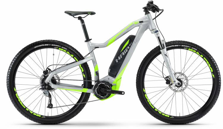 Haibike SDURO HardNine 4.0 400Wh silber/neon grün matt 2017 - E-Bike Hardtail Mountainbike