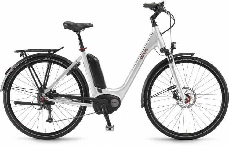 """Sinus Tria 9 500Wh 26"""" silber 2017 - Tiefeinsteiger E-Bike Trekkingrad"""