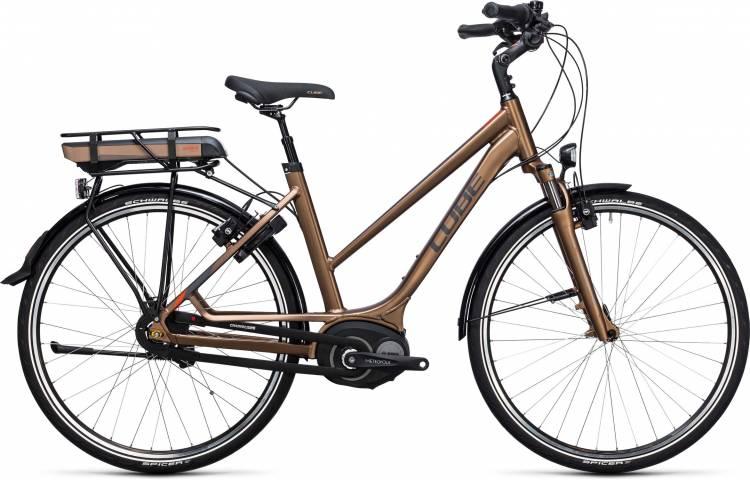 Cube Travel Hybrid 400 havanna brown n orange 2017 - Damen Trapez E-Bike Trekkingrad