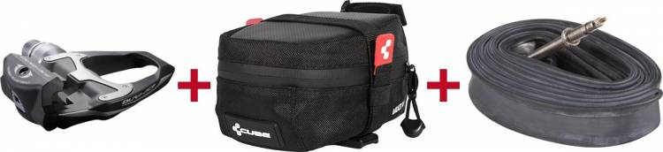 Shimano SPD-SL Pedal + Cube Satteltasche + Cube Schlauch