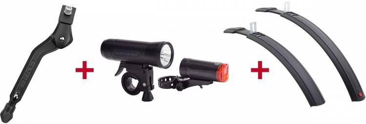 Cube Fahrradständer Kid + RFR Beleuchtungsset + Hebie Schutzblech Set Natter