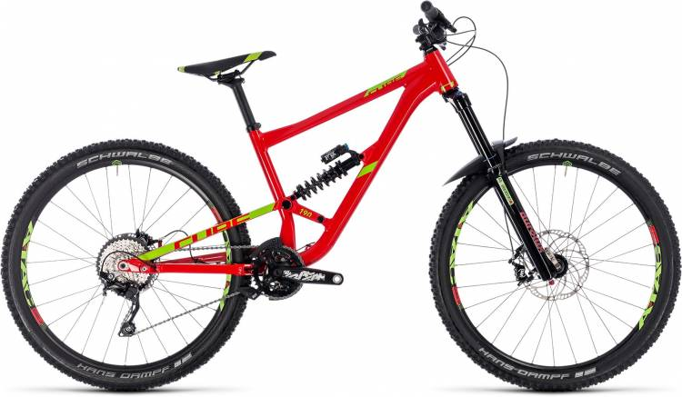 Cube Hanzz 190 Race 27.5 red n lime 2018 - Fully Mountainbike
