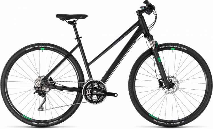 Cube Cross black n green 2018 - Damen Trapez Crossrad