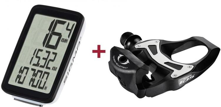 Sigma Fahrradcomputer Pure 1 ATS + Shimano SPD-SL Pedal 5800 105