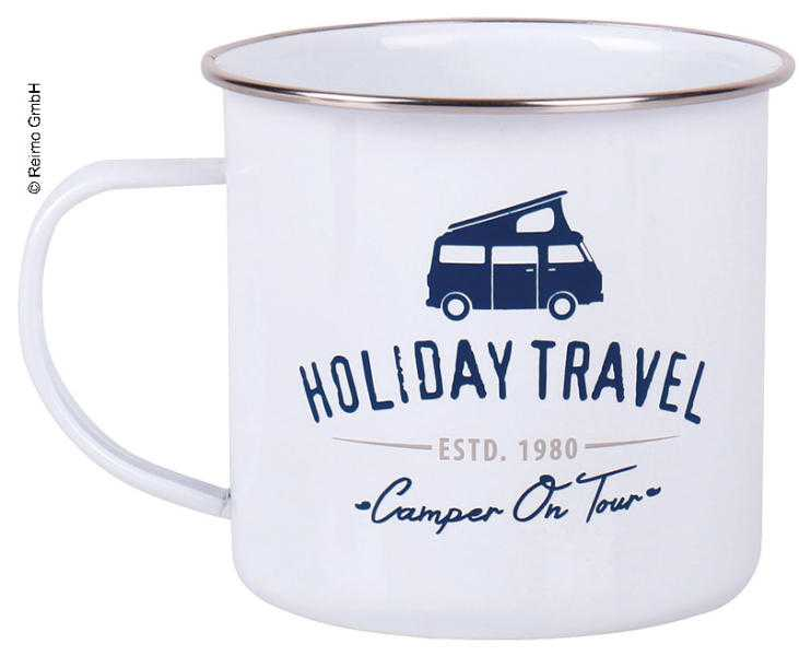 Holiday Travel Emaille-Becher, Newport Weiß