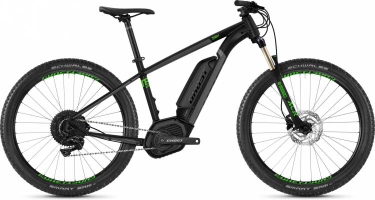 Ghost Hybride Teru B4.7+ AL U jet black / urban gray / riot green 2020 - E-Bike Hardtail Mountainbik