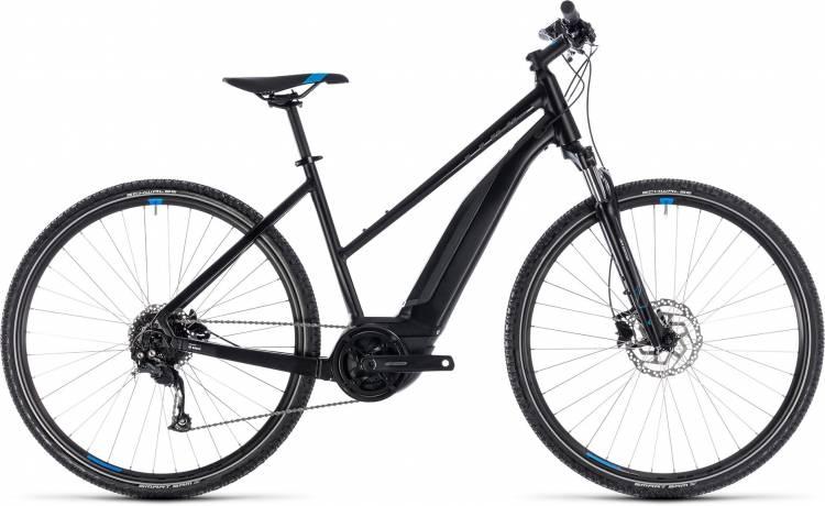 Cube Cross Hybrid ONE 400 black n blue 2018 - Damen Trapez E-Bike Crossrad