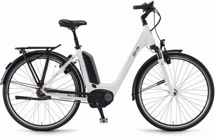 """Sinus Tria N7f 400Wh 28"""" weiß 2017 - Tiefeinsteiger E-Bike Trekkingrad"""