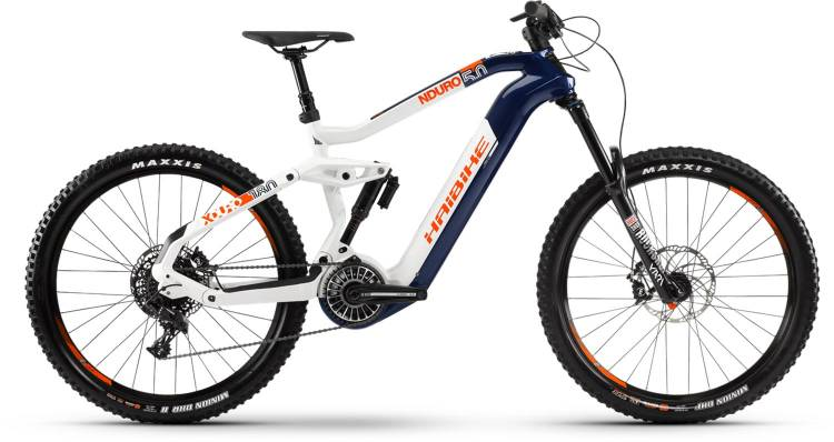 Haibike XDURO Nduro 5.0 FLYON i630Wh blau/weiß/orange 2020