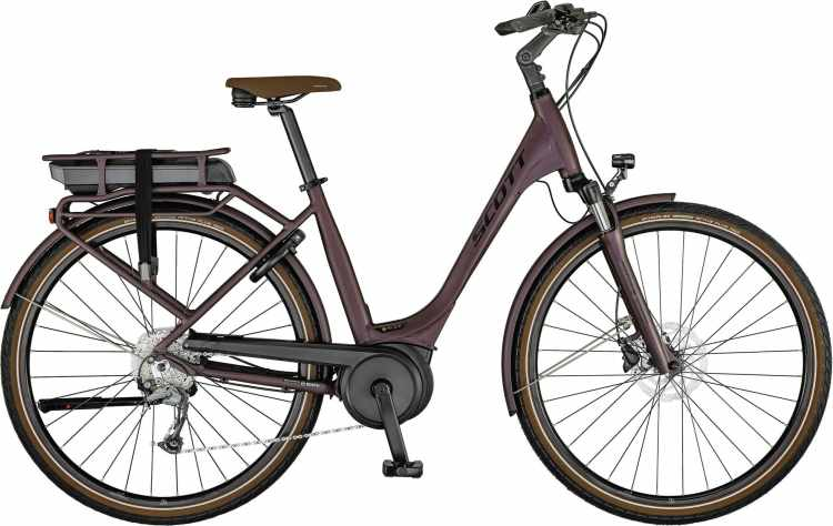 Scott Sub Active eRIDE 30 USX rack bordeaux / black / havana 2021 - E-Bike Trekkingrad Tiefeinsteiger