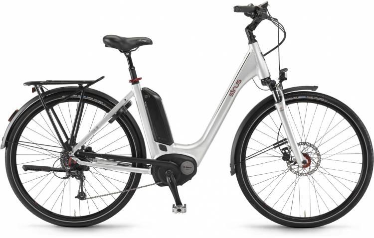 """Sinus Tria 9 500Wh 28"""" silber 2017 - Tiefeinsteiger E-Bike Trekkingrad"""