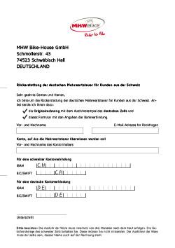 Download Formular Rückerstattung Schweizer Kunden