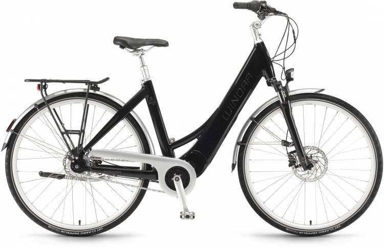 """Winora Manto M8disc 28"""" RT 400Wh mysticblack 2017 - Tiefeinsteiger E-Bike Trekkingrad"""