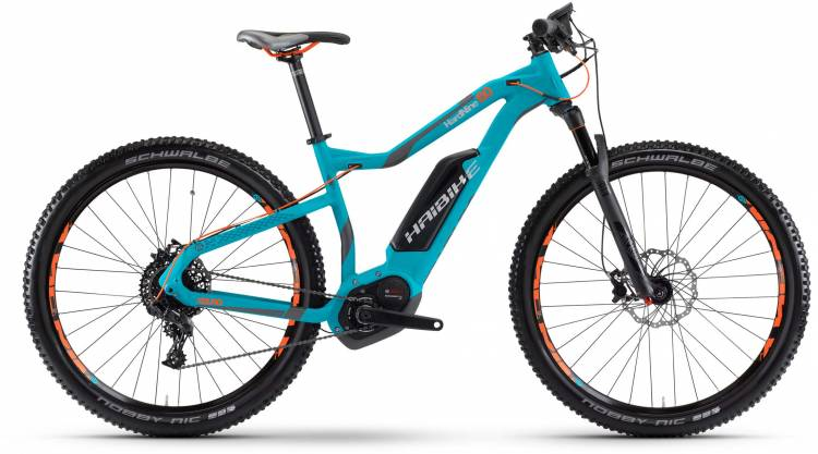 Haibike XDURO HardNine 6.0 500Wh cyan/anthr./orange matt 2017 - E-Bike Hardtail Mountainbike