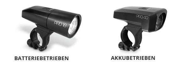 Akku- oder batteriebetriebene Beleuchtung